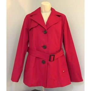 ELLEN TRACY Sz L Red Single Breasted Trench Coat